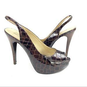 Pelle Moda Croc Embossed Patent Peep Toe Slingback